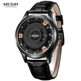 Wholesale Engraved Batteries - MEGIR Men's Fashion Watch Unique Engraved Dial Military Sport Watches Relogio Masculino Esportivo