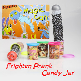 Wholesale Sweet Jars - Wholesale-Funny Trick Frighten Candy Jar Jump Out With Voice Strange Jar Party Play Special Sweet Jokes Children Gag Toys FCI#
