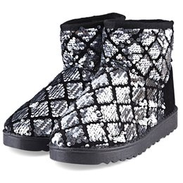 Wholesale Ladies Black Silver Toe Heels - Stylish Paillette Design Warm Ladies Snow Boots Ladies Girl Warm Snow Boots Paillette Cotton-padded Shoes for Adult Glitter Ankle Boots +B