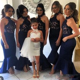 Wholesale Halter Junior Bridesmaid Dresses - 2017 Mermaid Halter Lace Applique Bridesmaid Dresses Navy Blue High Low Wedding Guest Gowns Junior Backless Maid Of Honor Party Dresses