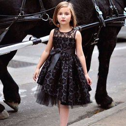 Wholesale Girls Rosette Tulle Dress - England Style Rosette Girls Birthday Dress Flower Girl Dresses Black Christmas Holiday Vestidos Gown Crew Neck Knee-Length Tulle Lace Custom