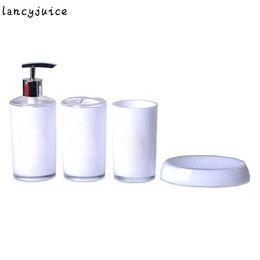 Wholesale White Dish Sets - Elegant Bathroom Sets Purple Black White Bath Accessories Simple Fashion Hot Sale in 2016 Bathroom Soap Dish and Tumbler Sets