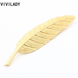 Wholesale Birthday Girl Pin - Wholesale- VIVILADY Simple Fashion Gold Plated Feather Leaf Brooches Pins Women Girls Sweater Costume Bijoux Accessory Party Birthday Gifts