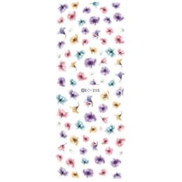 Wholesale Sheet Transfer Nails - 1 sheet Gradient Nail Water Decals Transfer Stickers Colorful Purple Fantacy Flowers Nail Art Sticker Tattoo Decals DS255