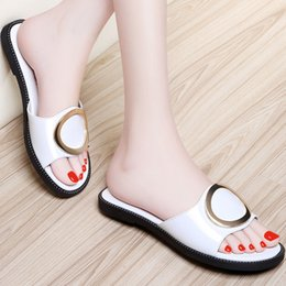 Wholesale Patent Leather Slippers - New Arrival Women's Summer Flat Patent leather Slippers with Metal Plating White and Black coors in 34-40 by Lightning delivery
