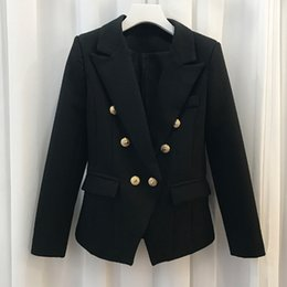 Wholesale Wholesale Women Office Suits - Fashion Midnight NAVY Slim Suit Double Breasted V-Collar Blazer Office Lady High Grade Blazers Clothing Simple Woman Jacket