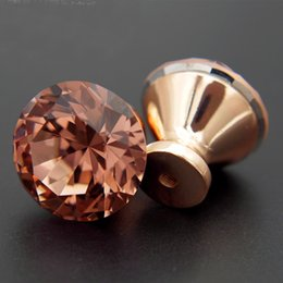Wholesale base cabinets - 10Pcs Unique Swiss Red Color Diamond Pull Handle Rose Gold Base K9 Crystal Cabinet Drawer Door Knob