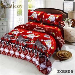 Wholesale Christmas Bedding Sets Queen - Wholesale- 3D Bedding Sets Merry Christmas Santa Claus and Gift 4pc Duvet Cover Bed Sheet Pillo w Case 100% polyester Christmas Gift