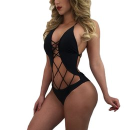 Wholesale Sexy One Piece Womens Swimwear - 6 Color Solid One Piece Swimsuit 2017 New Sexy Woman Bathing suit Bodysuit Swimwear Womens Vintage Beachwear Print Bandage Monokini Swimsuit