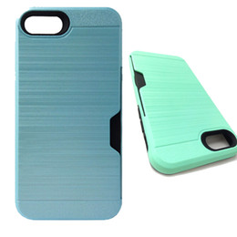 Wholesale Cover For Alcatel - For LG LV3 Aristo 2 X210 Brushed PC TPU Armor Case Card Slot Back Cover for iPhone X 8 7 6 6s plus Alcatel 5044R ideal Exite Cameox oppbag