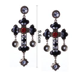 Wholesale Long Black Cross Earrings - New Arrival Baroque Cross Women Earrings Vintage Bohemian Style Long Earrings With Crystals Imitation PearlHD-201