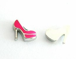 Wholesale Glass High Heel Shoes - 20PCS lot high heel shoe DIY Floating Locket Charms Fit For Magnetic Glass Living Floating Locket Necklace Making