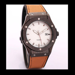 Wholesale Retro Gold Digital Watch - Cheapest branded for men retro digital date famous White dial black stainless case work Luxury brown leather strap watches gift boys