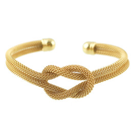 Wholesale Trendy Charm Bracelets - Trendy Jewelry Cuff Bangle Design European Style Gold Color One Direction Knot Cuff Bracelet and Bangle For Women