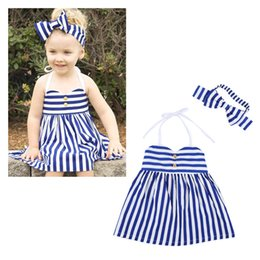 Wholesale Wholesale Kids Beach Clothing - Infants baby girls striped braces dress 2pc set dress+headband kids navy style casual outfits beach clothes for 1-5T