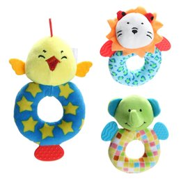 Wholesale Baby Toy Doll Stroller - Wholesale- Cartoon Animal Plush Handbell Doll Baby Infant Developmental Rattle Toy Baby Stroller Accessories Hanging Toys #LD789