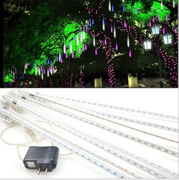 Wholesale Decorative Led Tube Lighting - 20 30 50 80CM Meteor Shower Rain Tube Decorative Guirlande Led Outdoor Garland Fairy Christmas Tree Luci Natalizie Navidad Lights