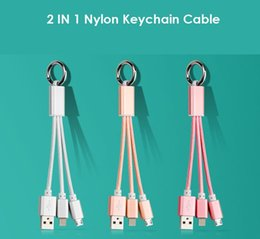 Wholesale Keyring Charger - New 2 In 1 Keychain Design Nylon Data Cable Charger Micro USB Keyring Snyc Cabo For iPh7 6 5 Samsung Huawei Xiaomi smartphone