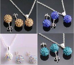 Wholesale Disco Ball Earrings Studs Black - Top quality 10mm CZ diamond crystal clay disco ball shamballa necklace earring studs jewelry sets mix color Jewellery Set
