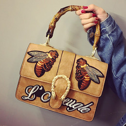 Wholesale Cheap Brown Bags - Embroidery bees printing best vintage cheap designer shoulder bags for women fashion handbag brands china on sale discount free ship