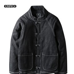 Wholesale Men Jeans China - Wholesale- Winter Men's Cotton Padded Thickened Jacket China Style Male Jeans Coat Mens Fashion Casual Hiphop Warm Denim Parkas Jacket