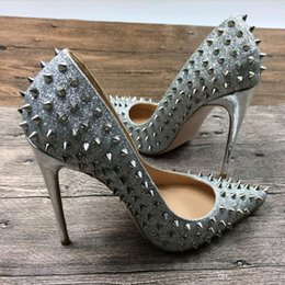 Wholesale Silver Spikes Studs - 2017 glitter High Heels party Shoes Pointed toe Women Pumps spike stud sexy Pumps sliver color dress Shoes Thin Heeled 12cm heel