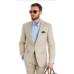 Wholesale Tailor Made Casual Suits - Tailor Made Beige Groom Tuxedos Slim Fit Mens Wedding Prom Party Suits Casual Man Suit Bridegroom Suit(Jacket+Pants)
