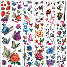 Wholesale Tattoos Colorful Sleeves - 1 Sheet 190x90mm 3D Tattoo Colorful Waterproof Body Sleeve DIY Sticker Glitter Temporary Tattoos Rose Flower Butterfly B3DLOT1