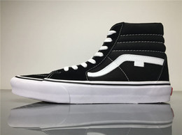 Wholesale Hard Plastic Boxes - 2017 Van Sk8-Hi Top Unisex VN000D51B8C Black White Canvas Shoes Sneakers Size 36-45 With shoes box