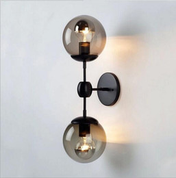 Wholesale Glass Wall Light Shades - black modo wall lamp modern wall sconce modo light glass shade lighting iron fixture lights 2 globew 3 globes black color