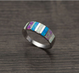 Wholesale Opal Gifts For Women - Pink Blue White Fire Opal 925 Silver Stamp hot sell Wholesale Retail for Women Jewelry Ring Size