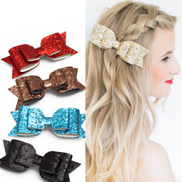 Wholesale Sequin Bowknot Hair - 2017 New lovely hair clips ladies Large size bowknot hairpin leather Sequins barrette clips free shipping