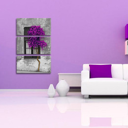 Wholesale Trees Life Oil Painting - 3 PCS Unframed Modern Spray Printed Oil Painting Purple Tree By The Window Wall Decor Art On Canvas
