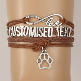Wholesale Charms Text - Drop Shipping Infinity Love Customised Text Bracelets Bangles Animal Paw Charm Handmade Bracelet Dog Cat Tiger etc Name Custom