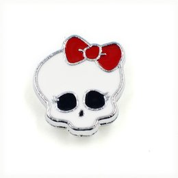 Wholesale 8mm Pet Collars - Wholesale 50pcs zinc alloy Halloween skull with bow tie 8mm slide Charms DIY Accessories Fit 8mm Pet Collars wristband SL165