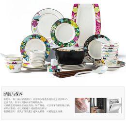 Wholesale Korean Chopstick Spoon Set - 56 Korean Tableware Ceramic Bowl Bowl Bowl Chopsticks Spoon Chinese-style plate set Household Wedding Gift Box