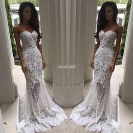 Wholesale Wedding Dress Embellishments - Romantic Boho White Mermaid Wedding Dresses Heavy Embellishment Bridal Dress Full Lace Applique Backless Illusion Bodice Wedding Gowns 2017