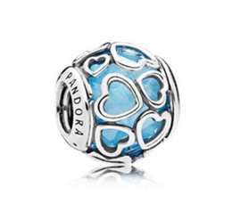 Wholesale Free Pandora Bracelets - 2017 summer authentic silver bead Fits for pandora bracelets Original 100% 925 sterling silver bead Blue Encased in Love Charm 3 color free