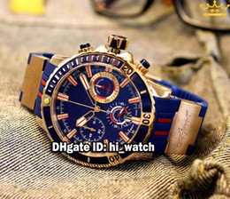 Wholesale Maxi Marine Chronograph - Super Clone Brand Ulysse Maxi Marine Diver 1502-151LE-3 93-HAMMER Blue Dial Quartz Chronograph Mens Watch Rose Gold Rubber Strap New Watches