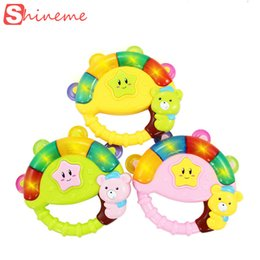 Wholesale Baby S Toys New - Wholesale- New Baby boy girl Rattle s Musical Flashing toy Hand ring Bell children infant kids educational toys tell chinese story