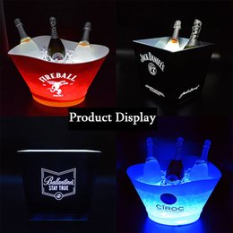 Wholesale Light Bucket Bar - LED Light Acrylic Champagne Wine Beer Bucket 4L Tub For Bar Club Party Plastic Ice Buckets Restaurant Hotel Champagne Bucket
