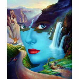 Wholesale Beautiful Woman Paintings - Beautiful Scenery Women FaceDIY Diamond Painting Embroidery 5D Cross Stitch Crystal Square Home Bedroom Wall Art Decoration Decor Craft Gift