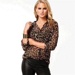 Wholesale Leopard Print Shirts For Women - Spring Summer Sexy leopard print women shirts street style Long Sleeve plus summer clothes panther shirts for Women DHL ouc423