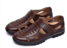 Wholesale Business Casual Sandals - Men's Summer Shoes Cow Split Leather New 2017 Men Sandals Hollow Platform Business Sandal Driving Moccasins