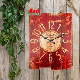 Wholesale Rustic Antique Decor - Wholesale- Retro Vintage Rustic Wall Clock Shabby Chic Home Office Coffeeshop Bar Decor Decoration Best Gift Craft 4 Stylish