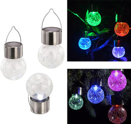 Wholesale Coloured Lamp - LED Solar Light Lamps hang Led ball 7 colour changing Garden Lights Outdoor Landscape Lawn Lamp Solar Wall Lamps