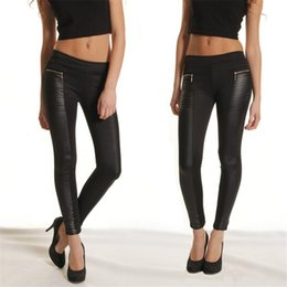 Wholesale Leather Panel Trousers - Fashion New Women Leggings PU Leather Elastic Waist Stretchy Skinny Zipper Leather Look Panels Pants Trousers Black Slim Pants