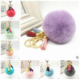 Wholesale Cell Phone Jewelry Wholesale - 20 Colors Tassel Rabbit Fur Ball Plush Keychain Pom Ball Bag Pendant Car Key Chain Jewelry Cell Phone Pendant Handbag Keyring CCA6876 100pcs