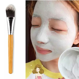 gesichtsmasken machen Rabatt Großhandel Neue Make-up Pinsel Frau Bambusgriff Gesichtsmaske Pinsel Make-up Pinsel Make-Up Gesicht Bürste