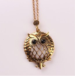 Wholesale Vintage Owl Glasses - 2017 gold plated Trendy Vintage magnifying glass Hollow out owl chain pendant Necklace for Women Statement Jewelry wholesale Free shipping